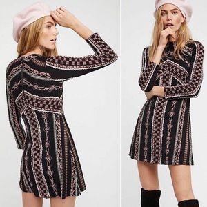 Free People Retro Long Sleeve Mock Neck Mini Dress